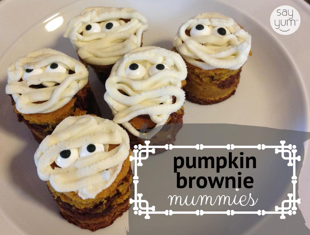 halloween mummy brownies spooky pumpkin mummy brownies dessert recipe say yum